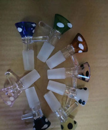 Wholesale Bow Types - 14mm 18mm male joint Smoking Dogo Glass Bow Tobacco And Herb Dry Bowl Slide Glass Bong And Pipes For Glass Bowl With Handle