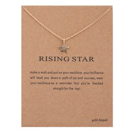 Wholesale China Link Wholesale - Fashion Dogeared Necklaces With Card Gold Plated Rising Star charms pendant Link Chain For women Jewelry Gift China wholesale