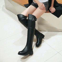 Wholesale Riding Boots For Women - Wholesale- New 2016 black over knee boots for women thigh high boots female ladies autumn shoes woman riding boots buckle sexy long boot