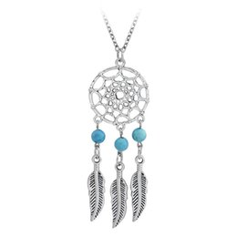 Wholesale indian feather necklace - Ancient Silver Indian Dream catch Tassel Feather Pendant Necklace Necklaces for Women Hope Turquoise Dreamcatch Jewelry Gift Drop shipping