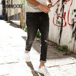 Wholesale Ankle Zipper Skinny Jeans - Wholesale- SIMWOOD 2017 Spring Ankle-Length Pants Men Fashion Casual Jeans Hole Slim Little elastic Black SJ6088