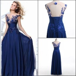 Wholesale Embroider Chiffon Evening Dress - Real Photos Long Formal Evening Dresses With 3D-Floral Appliques Embroider Royal Blue Chiffon Sheer Neck Open Back Party Prom Gowns