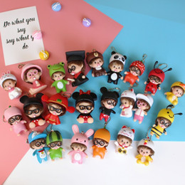 Wholesale Mario Accessories Wholesale - Lovely Key Chain Overs Spoon Buckle Monchhichi Bell Cartoon Dolls Holder Lady Bag Car Pendant Fashion Creative 3 8mk H1