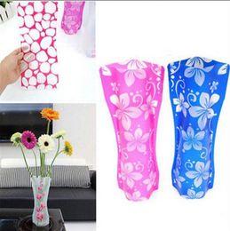 Wholesale Pvc Vases - Foldable Folding Flower PVC Durable Vase Eco-friendly Plastic Unbreakable Flowers Vases Jardiniere Home Wedding Party Decor OOA2100