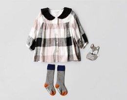 Wholesale Pet Lines - INS styles new arrival Girl dress kids fall long sleeve 100% cotton plaid print pet pan collar dress girl dress free shipping