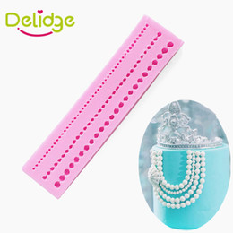 Wholesale Wholesale Pearls Crafts - Delidge 10 pcs 3 Bead Chain Cake Mold Silicone Pearl Chain Shape Fondant Mold Cake Decoration Sugar Craft Cake Fondant Moulds