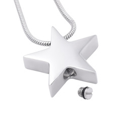 Wholesale Jewelry Point Star Pendant - CMJ8453 Five-pointed star shape cremation jewelry stainless steel ashes pendant memorial ash urn necklace Keepsake