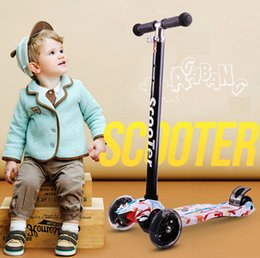 Wholesale Baby Carriage Wheels - Free shipFactory Outlet Graffiti children scooters 3-6-14 year-old flash four wheel three-wheeled baby carriage Child Stroller Baby carriage