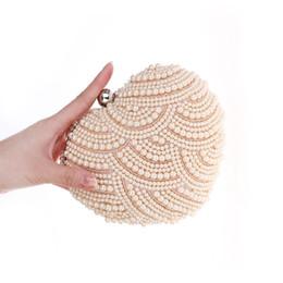 Wholesale Heart Shape Clutch Bag - Wholesale-Heart Shaped Pearls Evening Bag purse white Bridal Clutch Wedding Clutches purses champagne black girls party bags bolsas XA887A