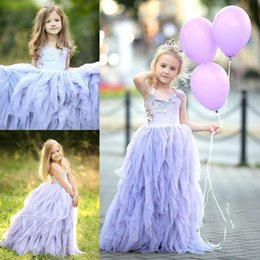 Wholesale Dress Line Floor Lenght - 2017 Cute Light Lavenda Flower Girls Gowns Spaghetti Birthday Dresses With Applique Floor-Lenght Custom Made Formal Party Dresses