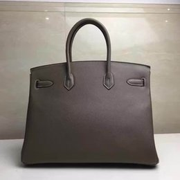 Wholesale Authentic Brand Handbags - Famous brand Luxury classic Togo leather handmade Stitching Authentic classic bag togo luxury handbags gray ladies tote shoulder bag