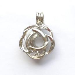 Wholesale Bracelet Imitation Jewellery - 18kgp Rose Pearl  Crystal  Gem Beads Locket Cage Pendant Mountings  Fittings for Bracelet Necklace DIY Charms Jewellery