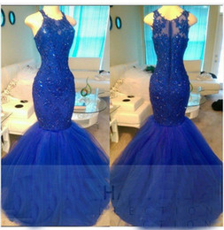 Wholesale White Tull Dress - Royal Blue Mermaid Prom Dresses Sleeveless Scoop Neck Formal Evening Dresses Tull Applique Lace Party Gown Cocktail Dresses