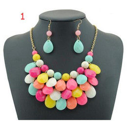 Wholesale Multilevel Necklace - Drop necklace earrings Sets Multilevel Acrylic Bubble Bead Chokers Necklaces Gold statement Necklaces women jewelry 10pcs Free Shipping