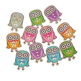 Wholesale Arts Crafts Activities - Kimter Mixed Cartoon Owl Wooden Sewing Buttons With 2 Holes 2.9x2.4cm For DIY Arts Craft Dressmaking Creative Activity Pack Of 50pcs I669L