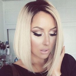 Wholesale Two Tone Blonde Short Wigs - 1B 613# Short Two Toned Human Hair Lace Wigs Bob Wigs Ombre Full Lace Wigs Blonde Bob Baby Hair For Black Women