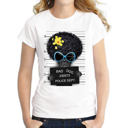 Wholesale Dog Shirt Woman - 2017 Hot Sale Dog Police Dept Design Women T Shirt French Bulldog T-shirt Novelty Short Sleeve Tee Pug Printed Bad Dog Shirts