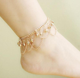 Wholesale Personalized Christmas Ornament - Foot Ornaments Europe and the United States Personalized Fashion Bohemian Multi-Layer Tassel Bell Anklet