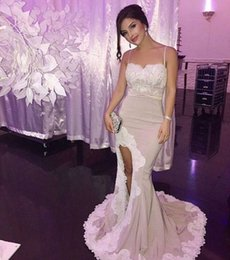 Wholesale Lilac Mermiad - mermiad prom dresses 2017 spaghetti straps evening gowns floor length split party for women vestidos de baile