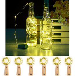Wholesale Wholesale Inch Fairies - Set Of 6 PCS Fairy Bottle Cork Lights-2M 78 Inches Silver Wire 20LEDS Fairy String Lights Warm White Battery Powered Bottle Lights