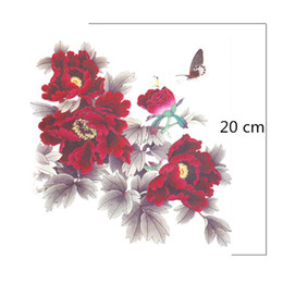 Wholesale red eye tattoo - Wholesale- Female red flower Tattoo stickers large waterproof tattoo costume big tattoo MQA07