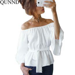 Wholesale Blusas Moda - Women Stylish Flare Sleeve Chiffon Blouse Summer Fashion Off Shoulder Casual Solid Shirts Loose Tops Blusas Mujer De Moda 2017 q170716
