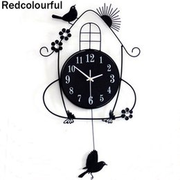 Wholesale Diy Resin Wall - Wholesale- 2016 Vintage Large Wall Clock 70x36x24cm Modern Design 3D DIY Decorative Crystal clock wall clock Watch Unique Gift Redcolourful