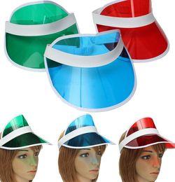 Wholesale Wholesale Sun Hats - sun visor sunvisor party hat clear plastic cap transparent pvc sun hats sunscreen hat Tennis Beach elastic hats KKA1346