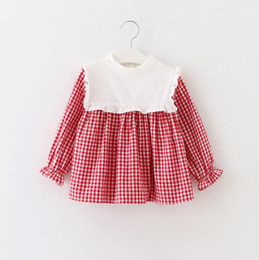 Wholesale Cute Korean Baby Clothes - 3 colors Korean cute style baby girls Fungus lace checked shirt round collar long sleeve T-shirt 100% cotton kids autumn clothing free ship