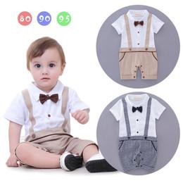 Wholesale Down Romper - 2017 Baby kids cute Gentleman short sleeve conjoined garment boy romper 100% cotton kids plaid kids romper free shipping 2 styles free ship