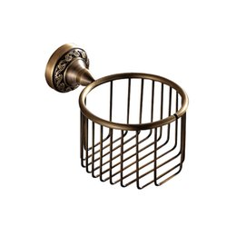 Wholesale Basket Antique - Free shipping Wall Mounted Antique Brass Finish Bathroom Accessories Toilet Paper Holder bathroom sets toilet basket for home decorated