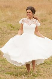Wholesale Chiffon Dress Transparent Sleeves - New Garden Modern Style Short Wedding Dresses Cap Sleeve Lace Chiffon A-Line Tea Length Transparent Bridal Gowns Custom Made Draped Princess
