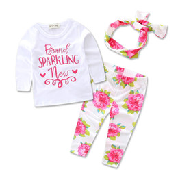 Wholesale Wholesale Headbands Leggings - 2 Styles New Spring Autumn INS Baby Girl Pink Letters Printed T Shirt +Floral Leggings +Headband 3 pcs Suits Princess Outfits A01