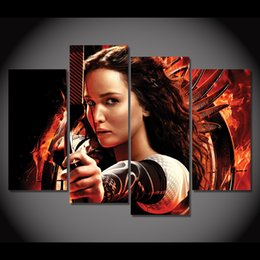 Wholesale Hunger Games Figures - Canvas Painting 4 Piece Canvas Art Movie The Hunger Games HD Printed Wall Art Home Decor Poster Picture for Living Room XA067A