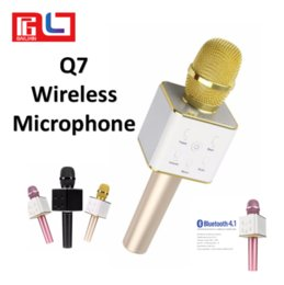 Wholesale free karaoke player - Q7 Handheld Microphone Bluetooth Wireless Speaker Mic Handheld Loudspeaker Portable Karaoke Player For Smartphone free Shipping