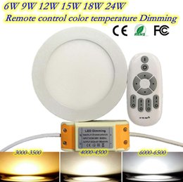 Wholesale Downlight Adapter - Wholesale- LED2.4G remote control color temperature dimming panel lights 9W LED Downlight with adapter 85-265V indoor Light DHL free 10pcs