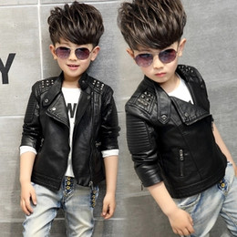 Wholesale Kids Leather Jackets Lining - Fashion Kids Leather Jacket Girls PU Jacket Children Motorcycle Outwear For Baby Girl Jackets Rivet Boy Coats w12