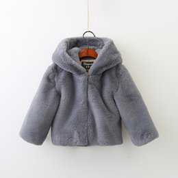 Wholesale Ears Hood - Children cute outwears 2017 new winter girls cotton hooded rabbit ears fur cloak sweater kids zipper long sleeve thickening coats C0998