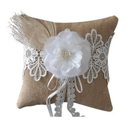 Wholesale Wedding Ring Pillow Wholesale - 20*20cm Wedding Ring Bearer Linen Pillow Cushion Covering by Lace with Feather and Flower Decoration Wedding Party Favors