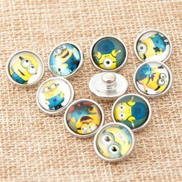 Wholesale 12mm Mix Glass Beads - Random Mix Colors Animal Cartoon styles Snap Buttons Beads 12mm Print Glass Cabochon Fit DIY Snap Bracelets&Bangles Jewelry