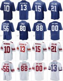 Wholesale Elite 13 - 2017 Custom Jersey 88 Evan Engram 15 Brandon Marshall 13 Odell Beckham Jr 10 Eli Manning 21 Landon Collins Elite Blue White American Jerseys