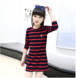 Wholesale Girls 14 Years Clothes - Children's girls long-sleeved T-shirt new spring big girl kids stripe long cotton T-shirt 4-15 years tops clothes