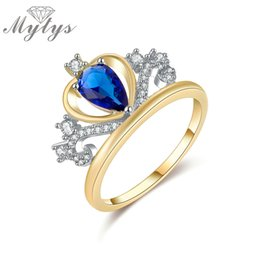 Wholesale Queen Hearts Tiara - Wholesale- Mytys Blue Crystal Heart Shape Tiara Crown Ring GP Princess Royal Queen Party Jewelry for Female R1194