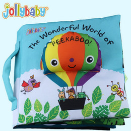 Wholesale Peekaboo Babies - Wholesale- 24*20*6.5cm Baby Cloth Book Children Kid Educational Toys Fabric Balloon Peekaboo Animals English Teach Stereo Quiet Book Babies
