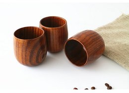 Wholesale Wooden Wine Wholesale - High Quality Retro Wood grain Belly cup Wood Tea Cup Japanese Style Wooden Cups Wine Drinkware Mugs Healthy Kitchen Tools Gift Free Shipping