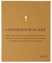 Wholesale D Pendants - Sparkling Key gold color plated Pendant necklace Key Fashion Clavicle Chains Statement Necklace For Women Jewelry(Has card)