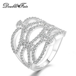 Argentina De calidad superior CZ Diamante Oro Blanco Plateado Anillos de Moda Para Las Mujeres Fiesta de Regalo Al Por Mayor de Joyería de Cristal DFR705 supplier top white diamond crystal Suministro