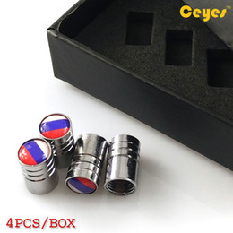 Wholesale tyre valves steel - Auto Car Wheel Tire Valves Tyre Stem Air Caps Cover Russian Federation Flag Emblems Stainless Steel Tire Car Accessories (Gift box)