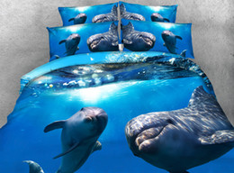 Wholesale Hd Twin - Wholesale- Amazing Dolphins under the sea Hd digital print 3d Animal bed set