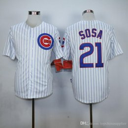 Wholesale Cheap Athletic Shirts - Cubs #21 Sammy Sosa Baseball Jerseys White with Blue Pinstripe Baseball Shirts Cheap Athletic Uniforms Playoffs Baseball Jersey for Men